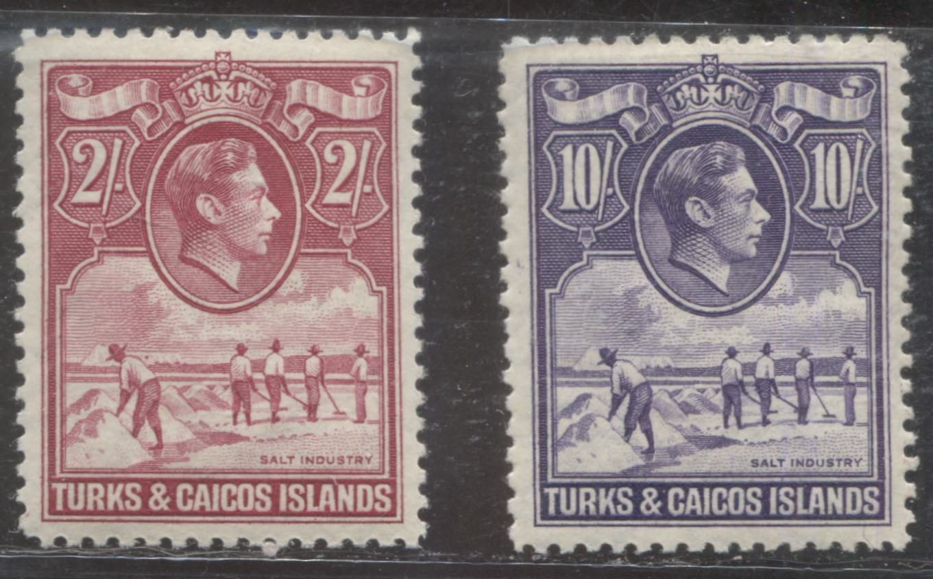 Turks and Caicos Islands SG#203a 205 2/- Bright Rose Carmine and 10/- Bright Violet, 1938-1950 Salt Industry Pictorial Definitive Issue, VFLH Examples of the Wartime and 1938 Printings
