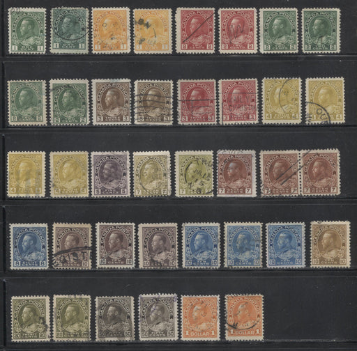 Canada #104/122 1c Green - $1 Orange King King George V,  1911-1928 Admiral Issue, A Specialized Lot of 38 Fine Used Stamps Including Many Shades and Printings