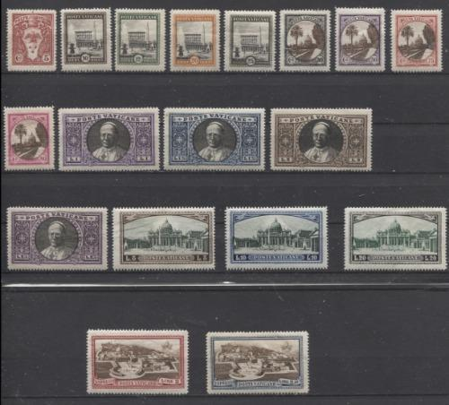 Vatican City #19-34, E3-E4 1933 Pictorial Definitive Issue F-70 to VF-84 OG and NH Brixton Chrome