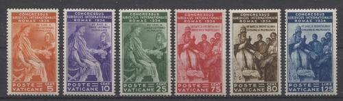 Vatican City #41-46 1934 International Juridicial Congress in Rome F-70 to VF-84 OG Brixton Chrome