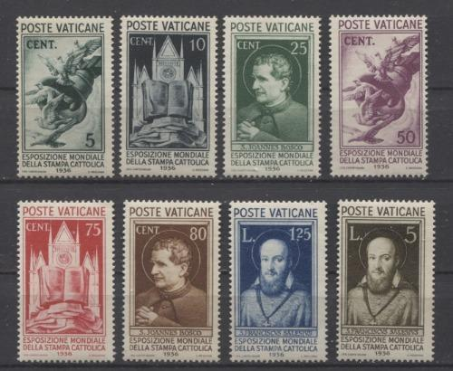 Vatican City #47-54 1936 5c-5L Catholic Press Conference Issue F-67 to VF-84 OG Brixton Chrome