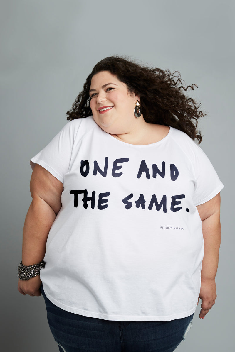 Model wearing Marissa Petteruti One and the Same plus size t-shirt