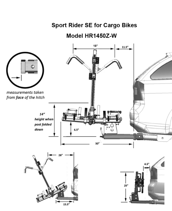 Sport Rider SE for Cargo Bikes - HR1450Z-WBike RackHollywood RacksRelax And Ride Bikes