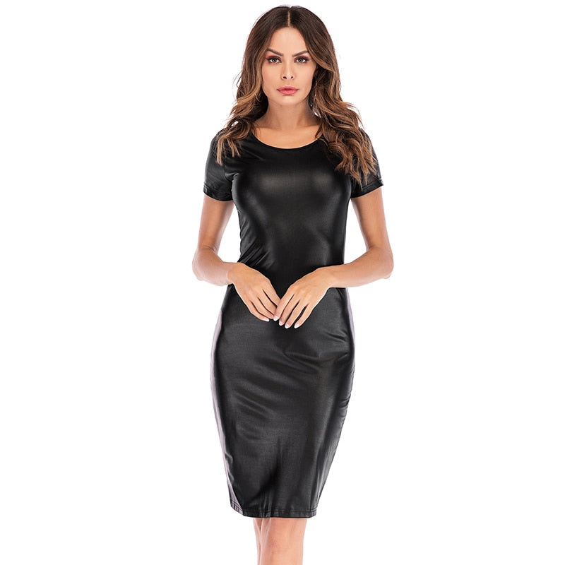 Sexy PU Leather Pencil Party Dress