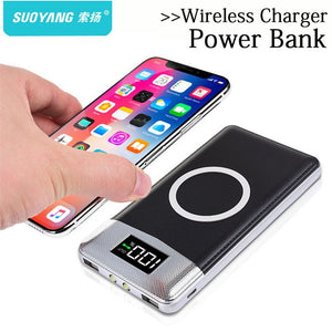 Portable 30000 mah Power Bank with Built-in QI Wireless Charger