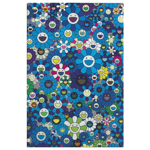 Takashi Murakami Art Blue Flowers Painting Canvas