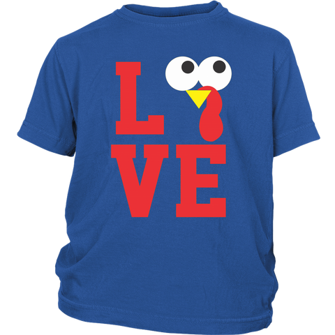 Thanksgiving Youth Shirt Turkey Love