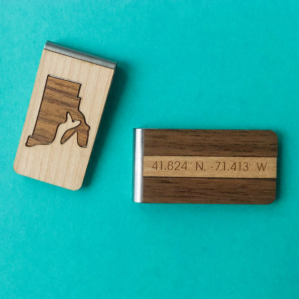 Rhode Island Lasercut Wood Money Clip