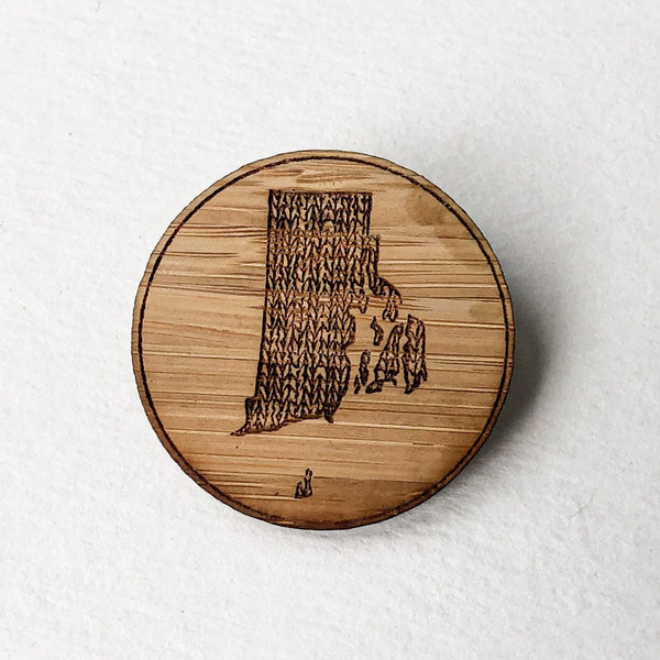 Large Lasercut Wood Rhode Island Pin