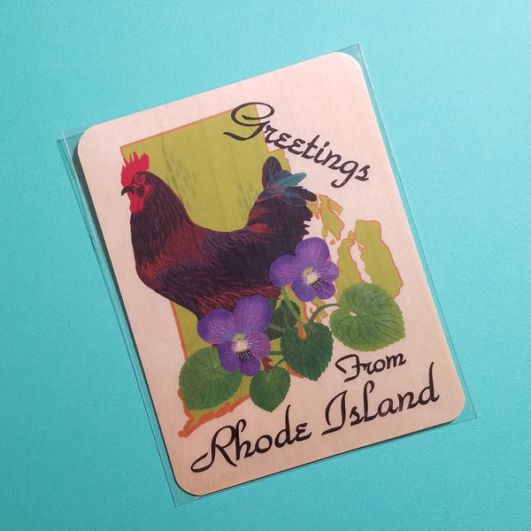 Rhode Island Red Wooden Card