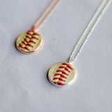 Baseball Seam Dainty Chain Pendant Necklace