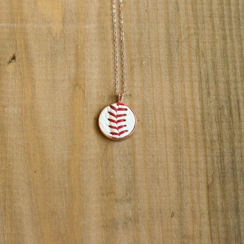 Baseball Seam Rose Gold Pendant Necklace