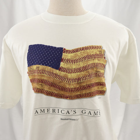 America's Game Baseball Seams American Flag ADULT Short-Sleeve Shirts