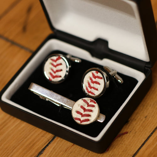 Bundle of Baseball Accessories: Tie Clip and Cufflinks