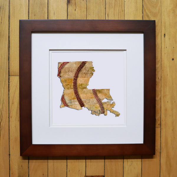 """America At The Seams"" Framed Print of State Artwork"