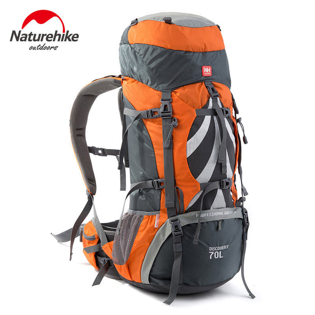 Professional Outdoor Backpack Big Capacity 70L Outdoor Climbing Bag with Support System NH70B070-B - travelgear4less