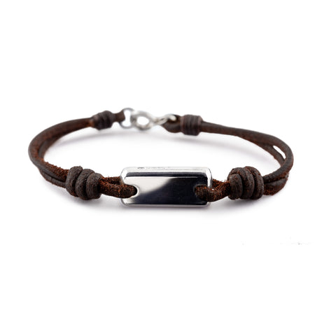 Sterling Silver Ingot Aeon Bracelet & Dark Havana English Bridle Leather