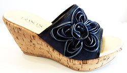 Frilly Lily - Navy Suede Flower
