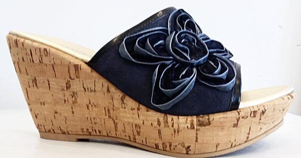 Frilly Lily - Black Suede Flower