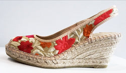 Talla Oro - Floral Canvas Espadrille Wedge - Made in Spain by Viguera