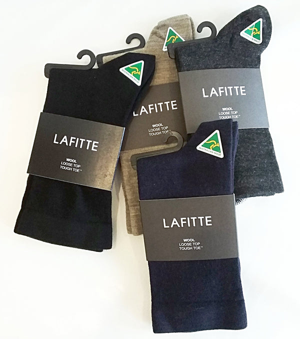 Wool - Loose Top - Tough Toe Socks in Charcoal