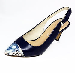 Mood - Navy Blue Sling Back Heel with Detailed Toe by Martini Marco