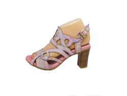 Fanny - Pink and Lilac Leather Heel Sandal by Laura Vita