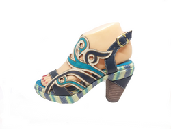 Final - Teal, Navy Blue and Nude Leather Heel by Laura Vita