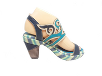 Final - Teal, Navy Blue and Nude Leather Heel by Laura Vita - LAST PAIR Size 42