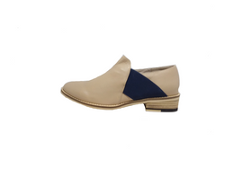Ramsay - Neutral Leather Flat with Navy Accent by Bittersweet - LAST PAIR Size 41 (AU 10 to 10.5)