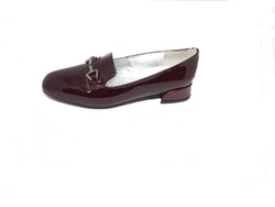 Aida Bordo Burgundy Patent Leather Flat Dress Shoe by Vago
