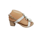 Blossom - Nude and White Sandal with Heel by Chrissie Brazil