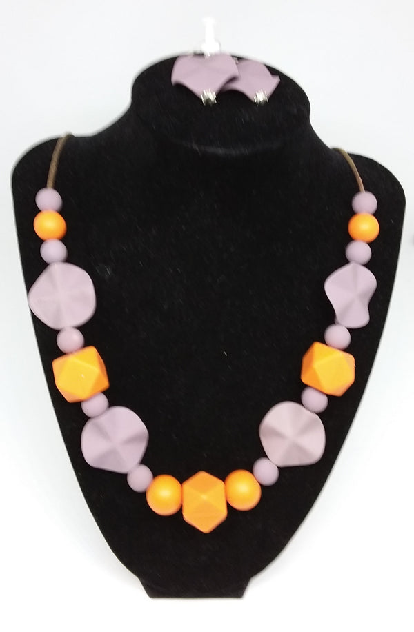 Orange Bite Necklace and Earrings Set