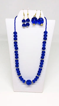 Blue & Gold Sparkles Necklace and Earring Set