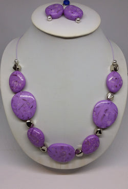 Lilac Splodge Necklace and Earring Set