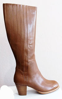 Joanna - Tan Knee Length Leather Boot by Magnini