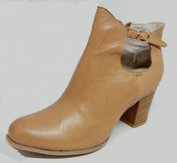 Ziddy Up - Camel Brown Leather Ankle Boot with Cut Out by Bittersweet