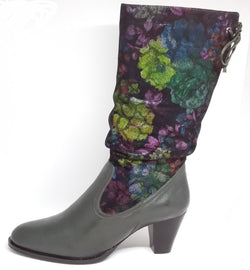 Noria - Green Mid Length Boot with Floral Detail by Martini Marco