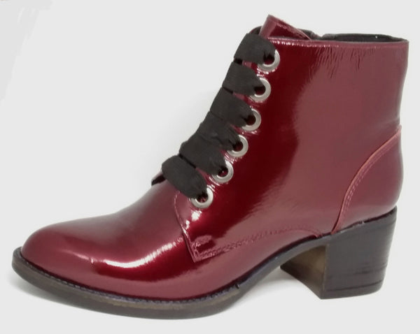 Whirl - Red Patent Leather Ankle Boot by Via Nova - THIS IS THE LAST PAIR - SIZE 41 (AU 10 TO 10.5)