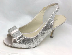 Vixen - Glittering Silver Shoes by Chrissie