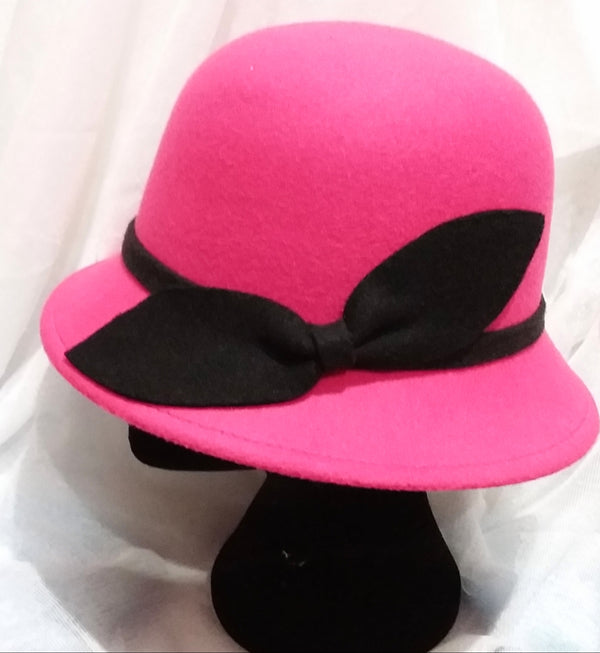Hot pink with Black Trim Hat