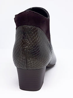 Madeira - Low Heeled Brown Leather Ankle Boot by Aerobics