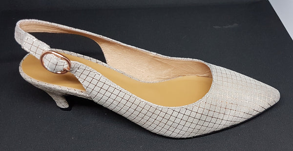 Prue - Mushroom and Gold Heel by Chrissie - Only 1 pair left - Size 41 (AU 10 to 10.5)!