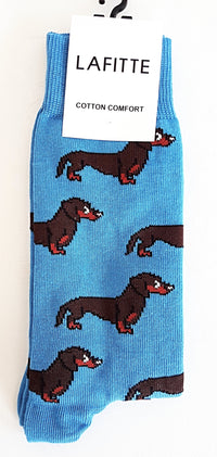 Daschund Socks - Light Blue