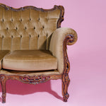 Load image into Gallery viewer, Caramel velvet baroque three-seater sofa