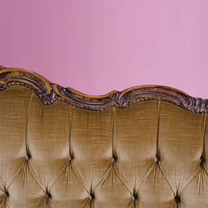 Caramel velvet baroque three-seater sofa