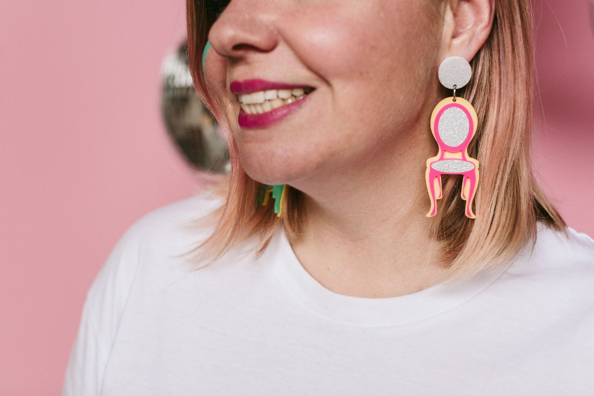Chair-ching! Hot pink + silver glitter earrings