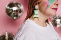 Chair-ching! Spearmint + silver glitter earrings