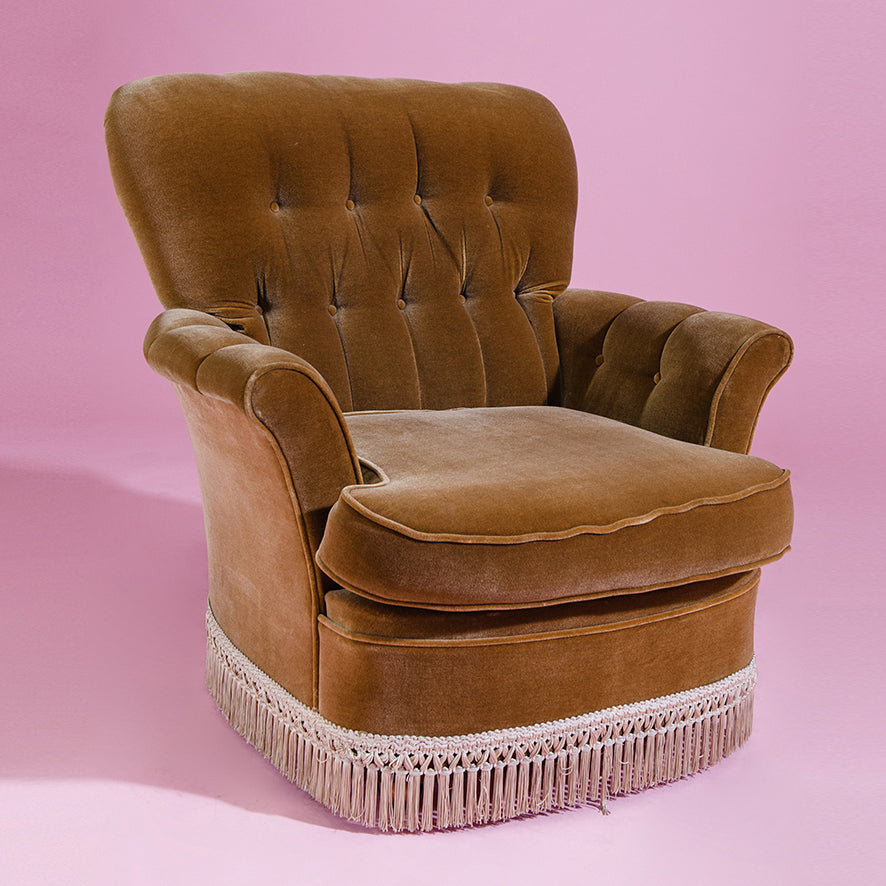 Brown velvet lounge chair with tassels - 70's
