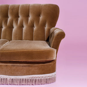 Brown velvet three-seater sofa with tassels - 70's